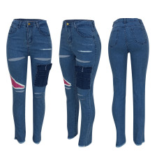 Denim Ripped Hole Skinny Jeans Pants FENF-012