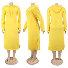 Solid Long Sleeve Split Hoodie Dress SFY-179