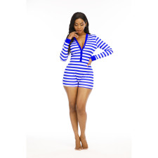 Plus Size Fashion Sexy V-neck Striped Print Christmas Tight Romper YM-9258