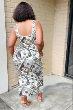 Dollar Print Sleeveless Irregular Long Dress FENF-004