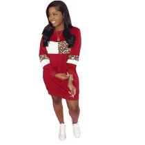 Plus Size Leopard Contrast Color O Neck Long Sleeve Dress YIY-5234