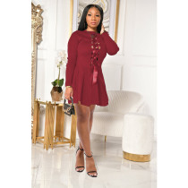 Plus Size Solid Lace Up Long Sleeve Mini Dress SHE-7227