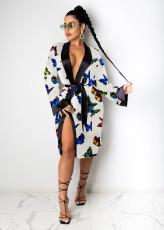 Sexy Printed Loose Full Sleeve Sashes Pajamas Midi Dress SHD-9452