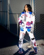 Casual Printed Hoodies Pants Two Piece Sets MYP-8950