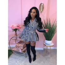 Houndstooth Print Pleated Belted Blazer Mini Dress YIY-5232
