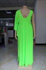 Plus Size 5XL Sexy V Neck High Split One Sleeve Maxi Dress FENF-008