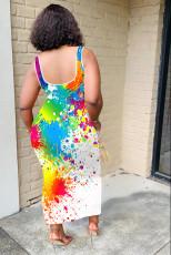 Sexy Printed Sleeveless Irregular Long Dress FENF-003