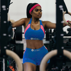 Fashion Splice Sports Yoga Vest And Shorts Two Piece Set OLYF-6009