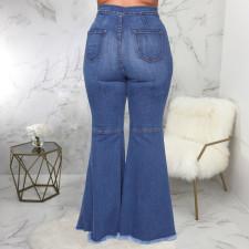 Plus Size 5XL Sexy Fashion Ripped Hole Slim Mid Waist Denim Flared Pants HSF-2352
