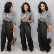 Shirt And Lace-Up Trousers Two Piece Set OLYF-6015
