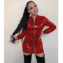 Trendy Leather Long Sleeve Zipper Mini Dress ML-7398