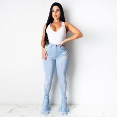Plus Size Fashion Ripped Hole Flare Denim Pants HSF-2339