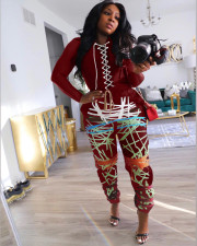 Plus Size Bandage Long Sleeve Top And Print Pants Two Piece Set MN-9277