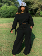 Plus Size Casual Knotted Long Sleeve Top And Wide Leg Pants 2 Piece Set OLYF-6021