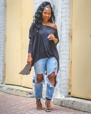 Casual Fashion Off Shoulder Irregular Long Sleeve Top OLYF-6024