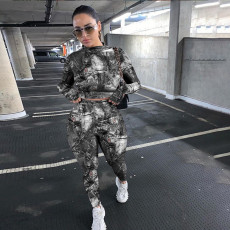 Casual Printed Long Sleeve Two Piece Pants Set YS-8719
