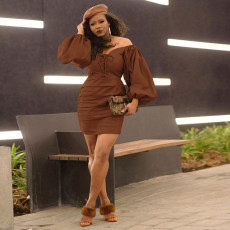 Trendy Sexy Pu Leather Long Sleeve Mini Dress SZF-6058