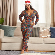 Plus Size 5XL Sexy Printed Slim Jumpsuit OSIF-20882-1