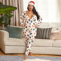 Plus Size 5XL White Tight Sexy Printed Christmas Jumpsuit OSIF-20884-1
