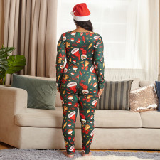 Plus Size 5XL Tight Long Sleeve Christmas Jumpsuit OSIF-20881-1