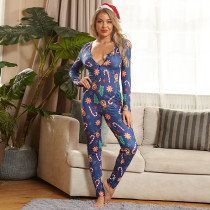 Christmas Print Skinny Sexy Buttons Jumpsuit OSIF-20887