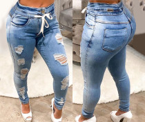 Casual Denim Ripped Hole Drawstring Skinny Jeans D-8398