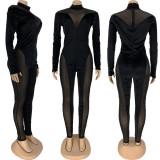 Sexy Mesh Patchwork Long Sleeve Jumpsuit FNN-8555