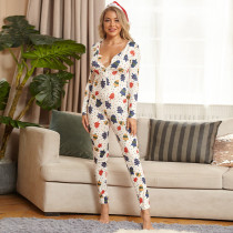 White Tight Sexy Printed Christmas Jumpsuit OSIF-20884
