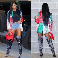 Trendy Printed Full Sleeve Blazer Coat WUM-922