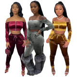 Sexy Slash Neck Crop Top Pants 2 Piece Sets ML-7399