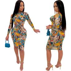 Fashion Sexy Long Sleeve Slim Printed Midi Dress YJF-8366