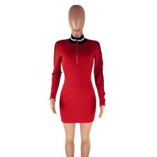 Fashion Casual Zipper Long Sleeve Bodycon Dress YJF-8322