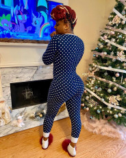 Polka Dot Long Sleeve One Piece Jumpsuits AIL-139