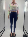 Casual Tie Dye Plush Crop Tops And Pants 2 Piece Sets MOF-5192