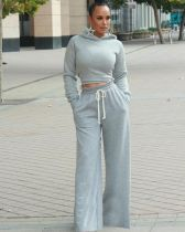 Solid Hooded Backless Wide Leg Pants Two Piece Sets MTY-6356