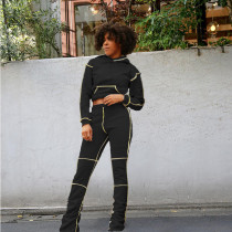 Casual Hoodies Stacked Pants Two Piece Sets HHF-9062