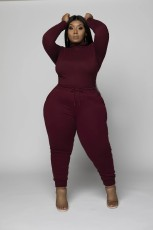 Plus Size 5XL Solid Long Sleeve Two Piece Sets WAF-7113
