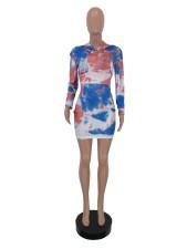 Printed Long Sleeve Pullover Hooded Dress YJF-8346