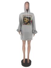 Printed Hooded Lantern Sleeve Pullover Sweatshirt Dress YJF-8355