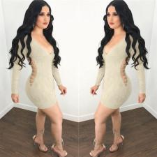 Sexy Deep V Neck Hollow Out Bodycon Dress LSL-6042