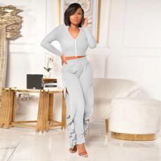 Solid Color Slim Zipper Top And Split Pants Two Piece Set MIF-9028