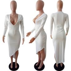 Sexy Deep V Neck Long Sleeve Irregular Long Dress LSL-6033