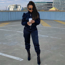 Solid Color Zipper Coat Casual Sports Two Piece Set MIF-9026