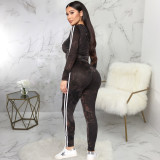 Casual Hoodies Striped Side Two Piece Pants Set SMR-9847