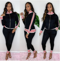 Casual Striped Zip Up Long Sleeve 2 Piece Pants Set YIS-519