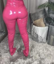 PU Leather High Waist Skinny Plush Split Stacked Pants BS-1237