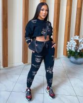 Printed Sweatshirts Long Sleeve Crop Top And Pants Two Piece Set ANNF-6020