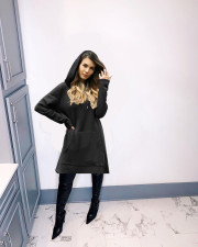 Plus Size Solid Color Long Sleeve Hooded Sweatshirt Dress QYF-5022