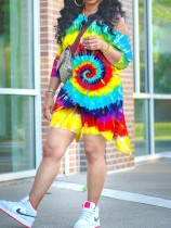 Plus Size Tie Dye Irregular Long Sleeve 2 Piece Shorts Set NY-8922