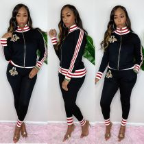 Casual Striped Zipper Two Piece Pants Set YIS-518